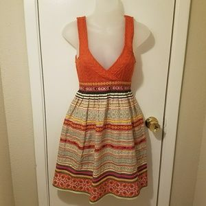 Free People Orange Knit Embroidery Sleevless Dress